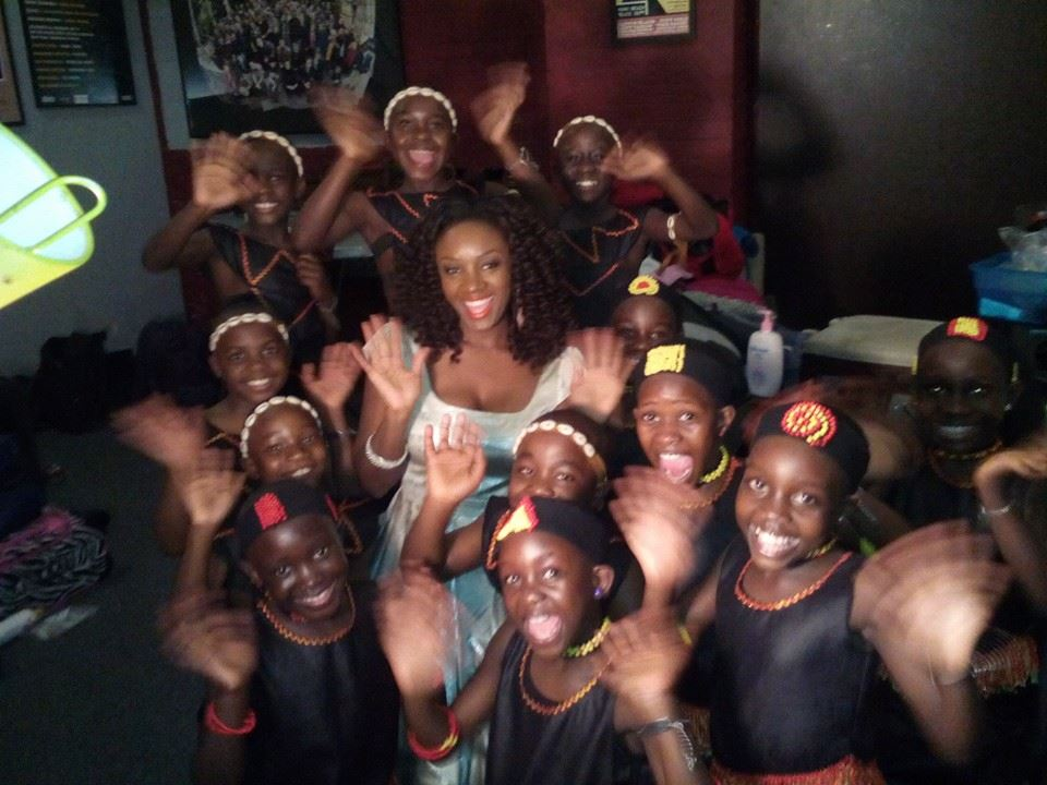 Saycon greets the beautiful African Children's Choir