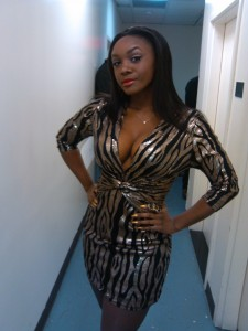 Saycon in her Goldfinger dress at XL New Years Eve