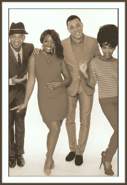 Sepia toned glow at the New York Post. Brandon Victor Dixon, Saycon Sengbloh, Charl Brown and Valisia Lekae evoke a time gone by in 60's inspired fashion. Original photo by Anne Wermiel for the NY Post.