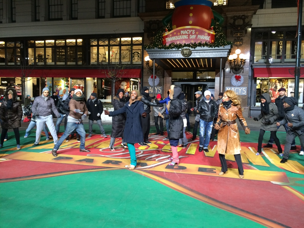 Saycon Sengbloh & the Cast of Motown rehearse in their coats: Macy's Thanksgiving Day Parade. Photo: courtesy of Joe Perrotta